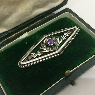Beautiful Scottish Antique Victorian Thistle Motif Purple Stone Gem Bar Brooch