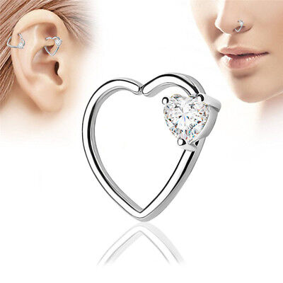 Crystal Heart Hoop Nose Ear Rings Helix Tragus Cartilage Earrings PiercingSC