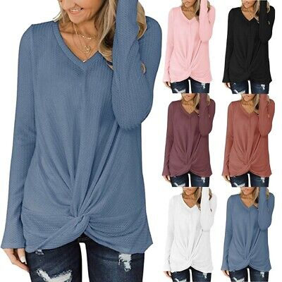 Femme Casual Col En V Manches Longues Knot Waffle Tunic Chemisier Blouse Hauts