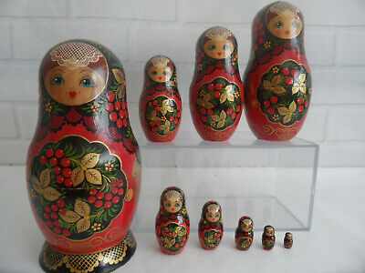 10 Piece Nesting Vintage Handcrafted Wooden Stacking Russian Dolls 20 cm