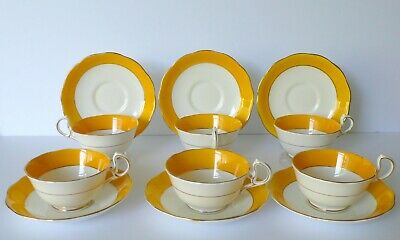 Set of 6 Art Deco Royal Albert Crown China Yellow Cups & Saucers
