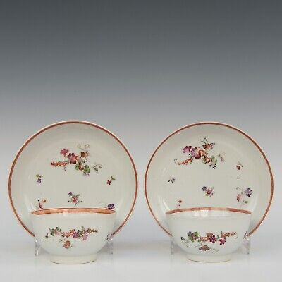 Nice pair of Lowestof Famille rose porcelain cups & saucers, 18th ct.