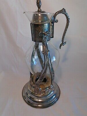 Vintage Hanging Glass Coffee Carafe Pot Silver Server