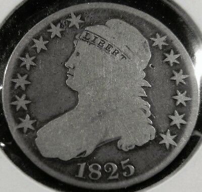 1825 Capped Bust Half Dollar 50C, Overton 104, R4 - Very Scarce, Good