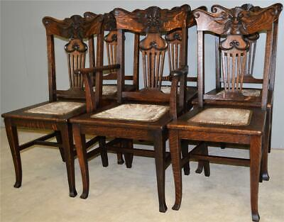 17831 Set of 6 Oak Unusual Carved Face Dining Chairs