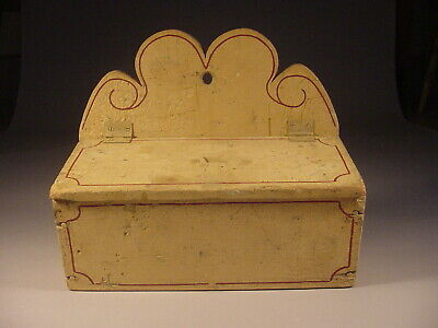 Paint Decorated Lidded Wall Box or Candle Box in Old Paint - Folk Art