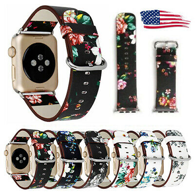 Bracelet Floral Flower Leather Strap Wrist Band For Apple Watch Series 5 4 3 2 1