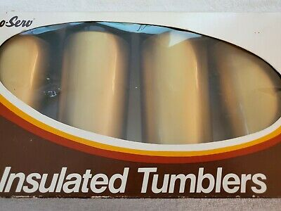 Vintage Set 4 West Bend Thermo Serv Insulated Beverage Tumblers Black Gold NOS