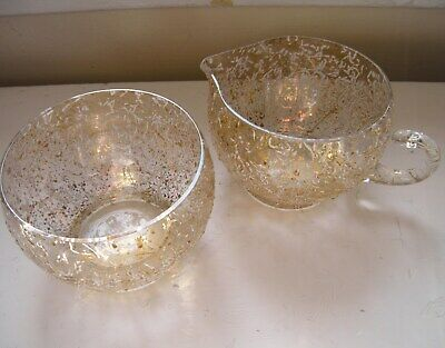 mid-century modern 1960's white and gold enameled glass creamer and sugar set