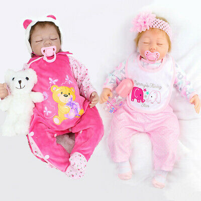 22'' Twins Reborn Baby Dolls Lifelike Newborn Silicone Vinyl Girl+Belly Boy Doll