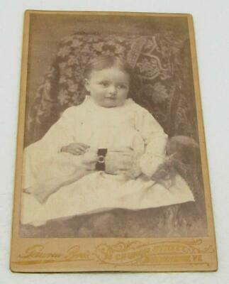 Antique Cabinet Card Photo Baby Girl Holding Doll Burlington Vt Victorian Times