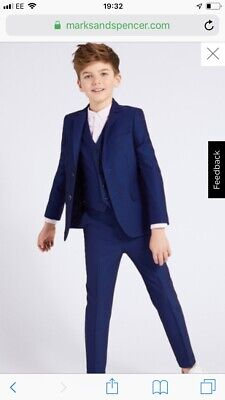 boys navy blue shine skinny fit 3 piece suit age 4/5 Marks And Spencer's