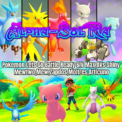 Pokemon Lets Go Pikachu Eevee All x6 Shiny Legends Mew Mewtwo Melmetal 6IV/AVs