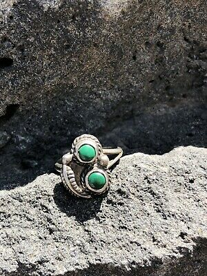 Vintage Pawn Native American Sterling Silver Malachite Turquoise Ring Size 5.5