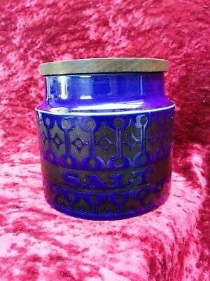 Hornsea Blue HEIRLOOM Pattern Salt Small Storage Jar Wooden Top Vintage 1970's