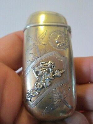 Antique - AESTHETIC -  STERLING VESTA / MATCH SAFE by GORHAM - Has INSECTS - Exc