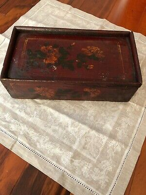 Antique Chinese Box Lacquered Slide Lid Very Old Hand Made Primitive