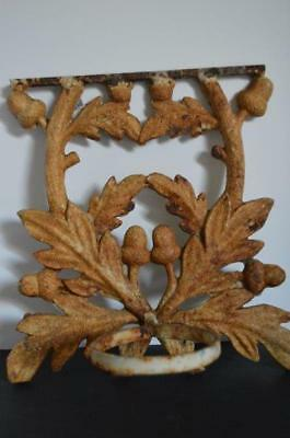 Vtg Cast Iron Sconce Holder Plaque Acorn Leaf Wall Plant Holder Candle Rustic