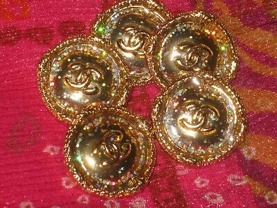 CHANEL 9 BUTTONS GOLD 24 mm , BIGGER THAN 1 inch metal with  cc logo 9