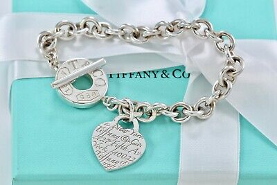 """Tiffany & Co. Sterling Silver Notes Heart Charm 1837 Toggle 8"""" Bracelet Boxed"""