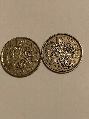 Silver 1931 And 1936 Three 3 Pence - Great Britain - Head of King George V - 3d