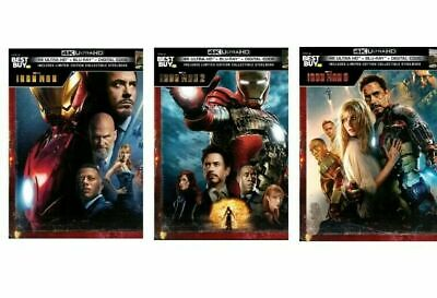 Iron Man Trilogy 4K UHD Blu-Ray Digital HD Caja Metálica Avengers War Máquina 1