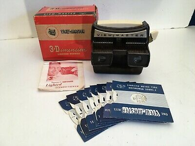 View-Master 3-D Lighted Viewer in box, instructions, 9 reels