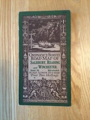 1914 Ordnance Survey Half Inch Road Map 33 Salisbury , Reading And Winchester