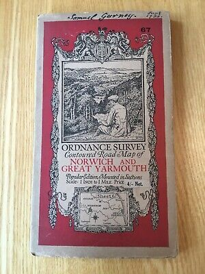 1931 Ordnance Survey One Inch Contoured Road Map 67 Norwich And Great Yarmouth