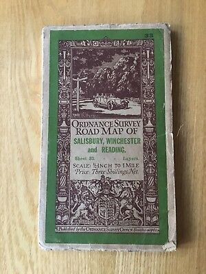 1927 Ordnance Survey Half Inch Road Map 33 Salisbury , Winchester And Reading
