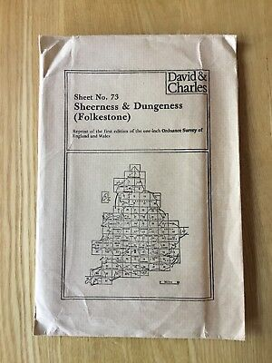 David & Charles Reprint Ordnance Survey First Edition Map Sheerness & Dungeness
