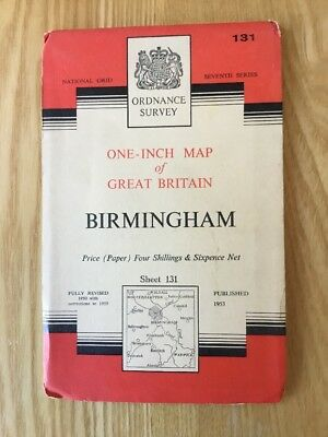 1959 Ordnance Survey One Inch Seventh Series Map 131 Birmingham (incl Redditch )