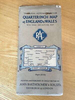 Vintage Bartholomew RAC Quarter Inch Map Of East Anglia With Index & Outline Map