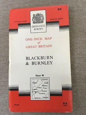 1967 Ordnance Survey Seventh Series One Inch Blackburn And Burnley Map Sheet 95