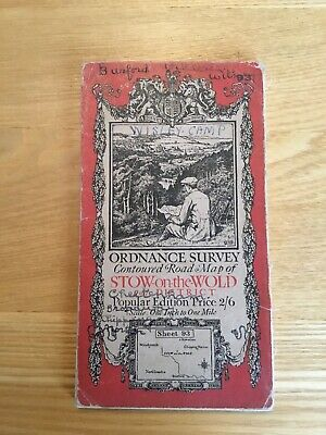 1919 Ordnance Survey One Inch Contoured Road Cloth Map 93 Stow On The Wold