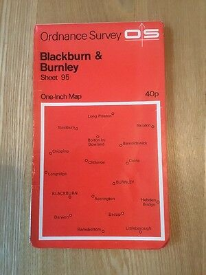 1967 Ordnance Survey One Inch Map 95 Blackburn And Burnley (incl Accrington)