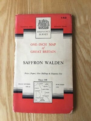 1960 Ordnance Survey Seventh Series One Inch Map 148 Saffron Walden (Inc Thaxted