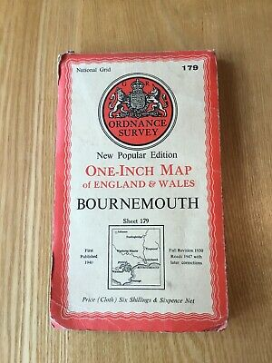 1947 Ordnance Survey One Inch Popular Edition Cloth Map 179 Bournemouth