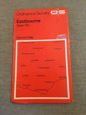 1969 Ordnance Survey One Inch Map 183 Eastbourne Inc Lewes, Newhaven, Heathfield