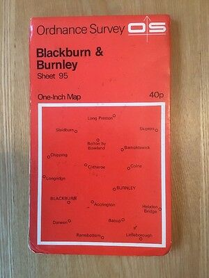1967 Ordnance Survey One Inch Map 95 Blackburn And Burnley (incl Clitheroe)