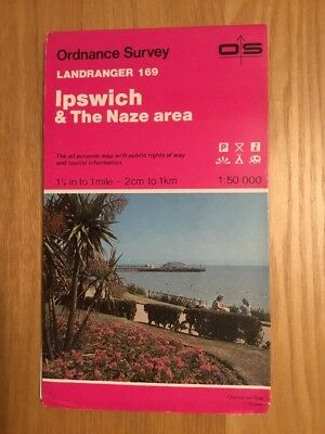 1993 Ordnance Survey Landranger Map 169 Ipswich And The Naze (incl Felixstowe )