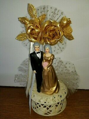 Old 1986 Bakery Crafts Wedding Cake Topper Bride Groom w/gray hair