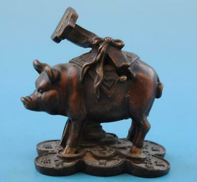 Chinese old fengshui copper hand-carved zodiac Wealth pig Ruyi statue d02