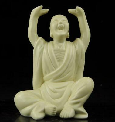chinese old Dehua white porcelain carved explore hand arhat Buddha statue b02