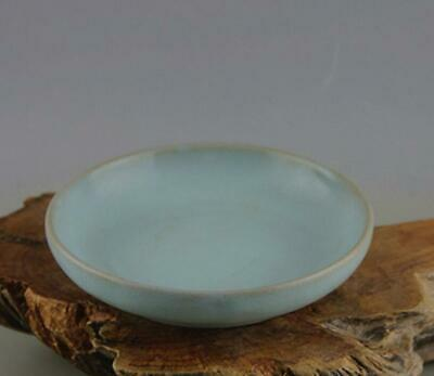 chinese old handmade Your kiln azure glaze porcelain plate 0658