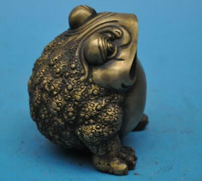 chinese old fengshui copper hand-carved three foot golden toad statue d02