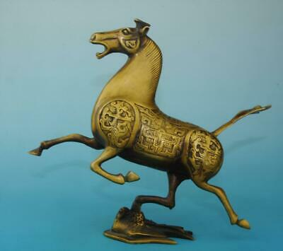 chinese antique old copper hand carved zoology horse statue e01