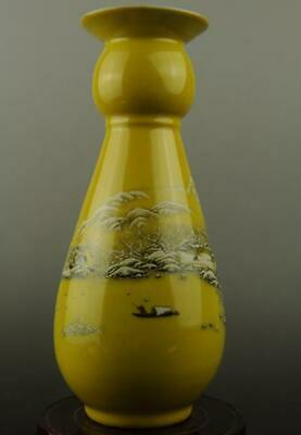 Chinese old yellow glaze porcelain snow-covered landscape pattern vas c01