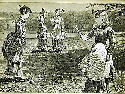 Winslow Homer 1869 Playing Croquet SUMMER in the COUNTRY Antique Print Matted