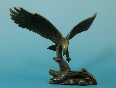 Chinese old copper fengshui hand-carved zoology eagle statue e01